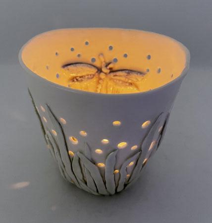 Porcelain Candle Holder - Single Dragonfly