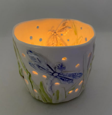Porcelain Candle Holder - Double Dragonfly