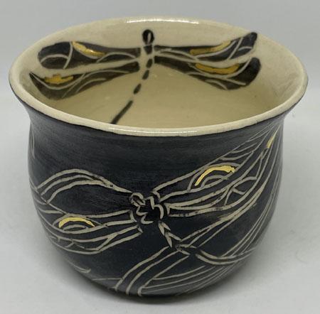 Wheel Thrown Dragonfly Pot
